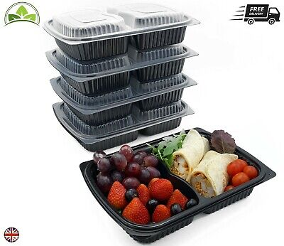 Meal Prep Food Containers 2 Compartment Reusable Take Away Lunch Box 1250cc • 10.99£