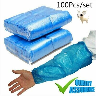 1000X Blue Disposable Plastic Arm Sleeves Covers Oversleeves Cleaning Protective • 9.99£
