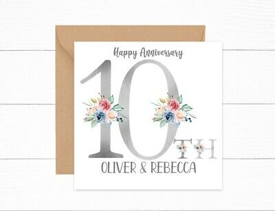Personalised 10th Anniversary Card Tin Wedding Couple Daughter Son Friends • 2.95£
