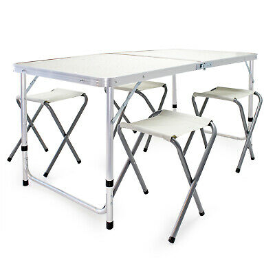 Folding Aluminium Table Set 4 Chairs Portable Outdoor Camping Parties Dining • 36£