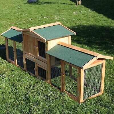 Rabbit Hutch Guinea Pig Hutches Run Extra Large 2 Tier Double Decker Ferret Cage • 132.38£