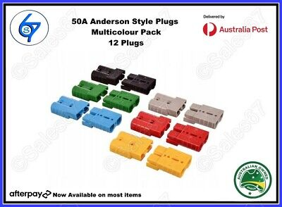 AU27.50 • Buy 12 X Anderson Style Plugs 50A 6AWG Pins 12-600V Mutlipack Any Colour Caravan Etc