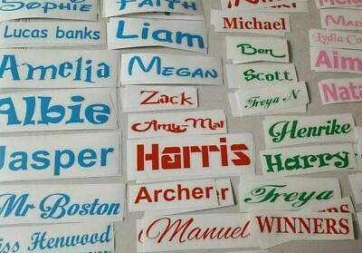 Personalised Name Sticker Vinyl Decal Water Bottle Wine Glass Lunch Box Label • 1.99£