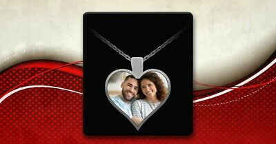 Personalised Photo/Text Engraved Heart Necklace Pendant Gift And Luxury Gift Box • 15£