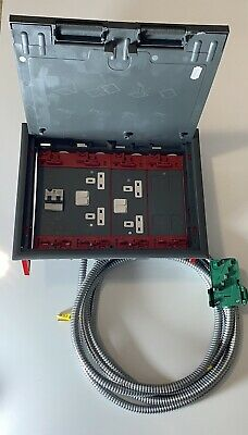 MK ACKERMAN Floor Box Cable Link Plus 4 Compartments 2 Double Sockets Data Plate • 70£