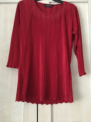 £7 • Buy Forever By Michael Gold Red Crinkle Pleat Top Medium 14