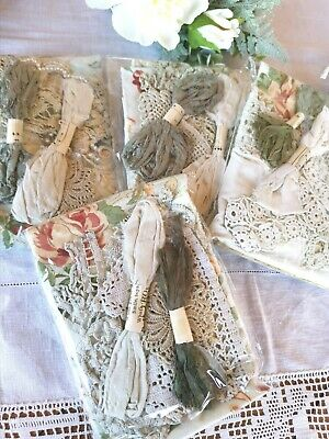 1 Hand Dyed Vintage Linens Crochet Lace Scrap Sewing Remnant Craft Pk Advacordo  • 7.50£