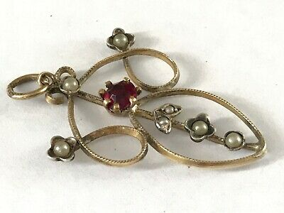Antique Edwardian 1900's 9 Ct Gold Plated Seed Pearl Red Paste Pendant • 29.99£