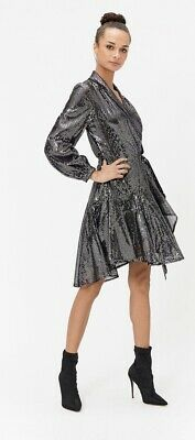 BNWT Coast Silver Sequin Skater Wrap High Low Dress Long Sleeve UK 14 RRP £149 • 29.99£