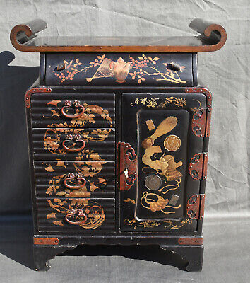 Antique 19thC Meiji Japanese Lacquered Hand Painted Cabinet With Key • 360£