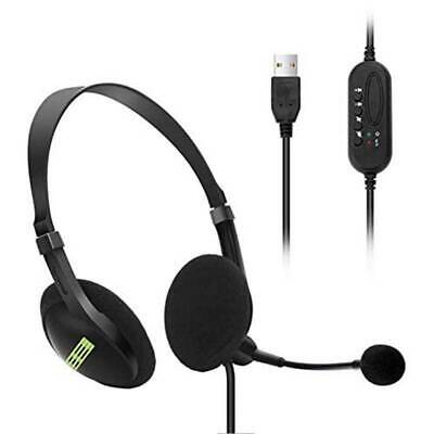 USB Noise Cancelling Headphones With Microphone Headset PC Call Centre Office UK • 9.49£