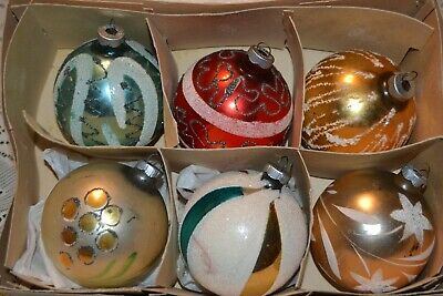 $ CDN30 • Buy Vintage Christmas ~ 3  Glass Ornaments ~ 5 Are West Germany Mica Glitter