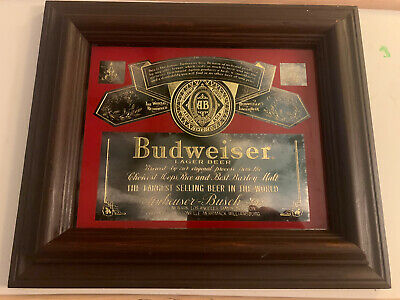 "$ CDN94.93 • Buy 1976 Vintage Budweiser Beer Framed Smoked Mirror Gilded Gold Bar Sign 13""x11"""