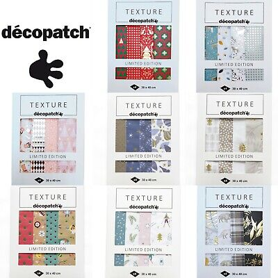 Decopatch Paper Decoupage Paper Texture Textured Foil Gilded -4 Pack Full Sheets • 7.39£