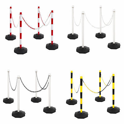 £59.99 • Buy 4 Post Base & 10m Plastic Chain Fence Kit Crowd Queue Safety Barrier Security