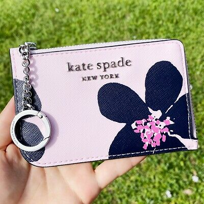 $ CDN50.42 • Buy Kate Spade Cameron Card Holder Small Key Ring Wallet Grand Flora Pink