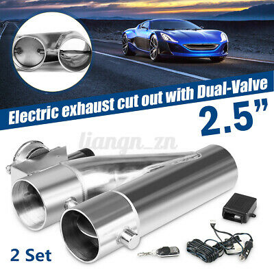 AU203.47 • Buy Pair 2.5'' Inch 63mm Dual Valve Exhaust E-Cut Out Electric Y Pipe Remote Kit
