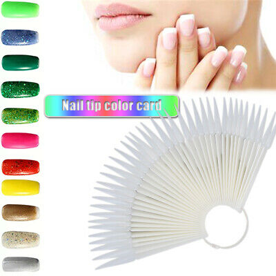 Beginner With Split Ring Pointed False Nail Tips Display Board Fan Shaped • 3.15£