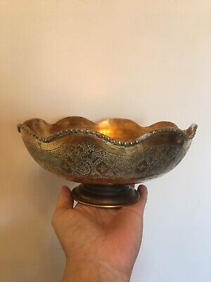 Beautiful Antique / Vintage Large Solid Brass Fruit Bowl Indian Hand Engraved • 15£