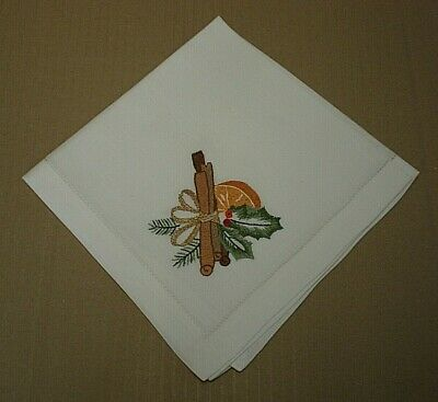 £4.99 • Buy Vintage White Linen Napkin With Embroidered Christmas Decoration