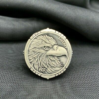 $40 • Buy 925 Sterling Silver Eagle Head 1937 Liberty Coin Men's Ring. No Stone.