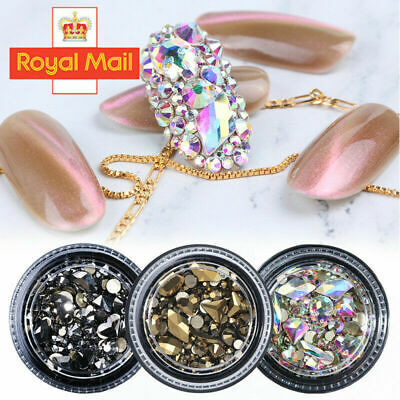 3D Mixed Nail Art Rhinestones Crystal Gems Jewelry Gold AB Shiny Stones Decor • 2.99£
