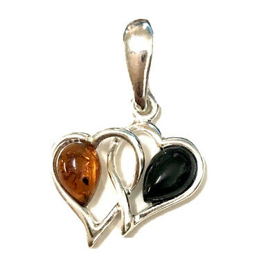 Whitby Jet And Baltic Amber 925 Sterling Silver Heart Interlocking Pendant • 19.50£