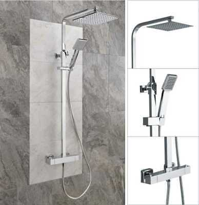 Thermostatic Exposed Shower Mixer Bathroom Twin Head Large Square Bar Set Chrome • 79.99£