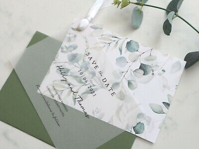 £1.50 • Buy Wedding Save The Date, Change Of Date, Vellum, Green Leafy Eucalyptus