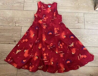 MARESE Girls 8A (Fits 7-8 Years) Red Needle Cord Lined Sleeveless Dress Print • 14.99£