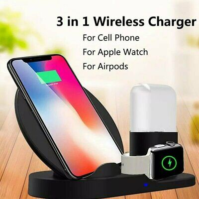 AU23.69 • Buy 3-in-1 Qi Fast Wireless Charger Dock Stand For Airpods Apple Watch Mobile Phone