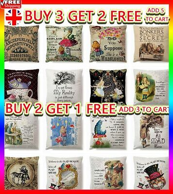 ALICE IN WONDERLAND Cushion Cover Pillow Case Cotton Square Vintage Gift 18  UK • 4.26£