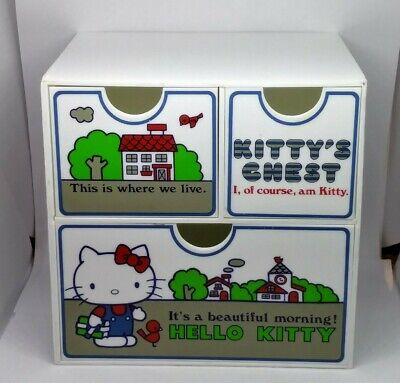 £32.01 • Buy Sanrio HELLO KITTY 3 Drawers KITTY'S CHEST 1976 Japan Vintage Jewelry Box *READ*