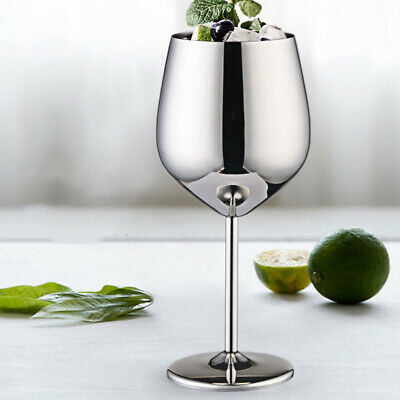 Silver High Quality Stainless Steel Wine Glasses Goblets Cup Outdoor Reusable UK • 9.49£