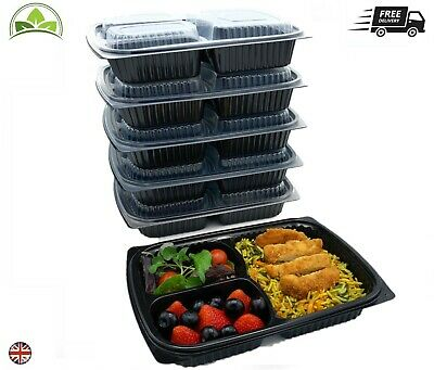 Meal Prep Food Containers 3 Compartment Reusable Take Away Lunch Box 1250cc • 11.90£