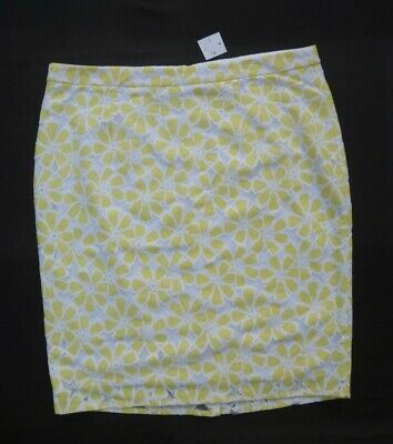 BNWT F&F Lemon/white Floral Netted Lace Over Lining Skirt W 39  Size 20 • 6.99£