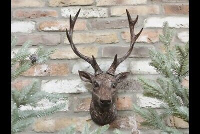 Wall Mounted Stag Head Antlers Deer Wall Plaque Sculpture Figure 47cm Decoration • 24.99£