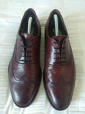 Bally Mens Burgundy Leather Brogue Shoes Size UK10.5(G) • 85£