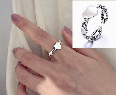 Heart 925 Sterling Silver Adjustable Band Thumb Rings Womens Girl Jewellery Gift • 2.97£