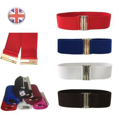 Lady Wide Waist Belt With Silver Buckle Thick Elasticated Stretch Belts UK New • 2.99£