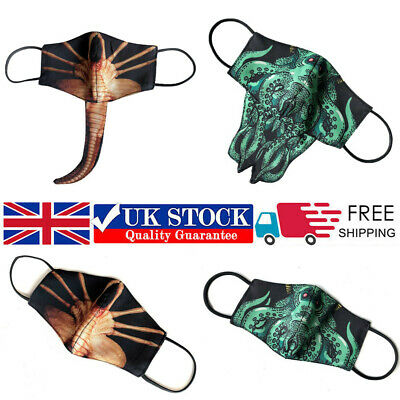 3D Facehugger Face Mask Washable Reusable Adults Kids Mouth Cover Protection NEW • 3.99£