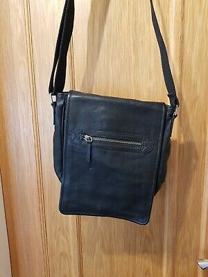 Mens Black Leather Bag M&S Autograph Marks Spencer Zipped Pockets Button Fasten  • 9.99£