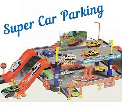 Kids Boys Car Parking Toy Garage Petrol Station Play Set 3 Cars 1 Bus Xmas Gift • 15.99£