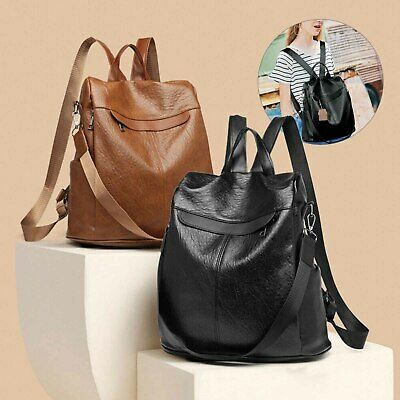 Women's Rucksack PU Leather Backpack Anti-Theft Travel Shoulder Bag Satchel UK • 6.99£