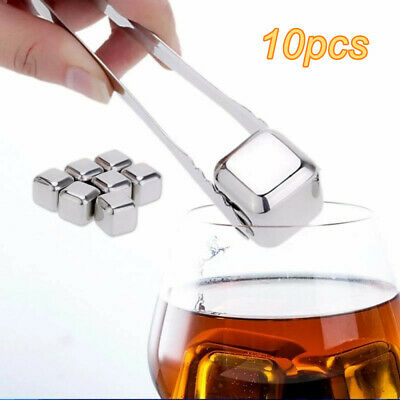 £12.09 • Buy 10pcs Whiskey Ice Stones - Bar Whisky Chilling Cooler Rocks Reusable Steel Cubes
