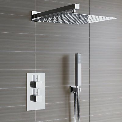 £94.99 • Buy Concealed Thermostatic Shower Mixer Square Chrome Bathroom Twin Head Valve Set
