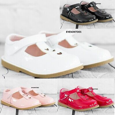 KIDS FLAT STRAP T-BAR GIRLS WEDDING PARTY SPANISH SCHOOL PARTY SHOES SIZE 10-2