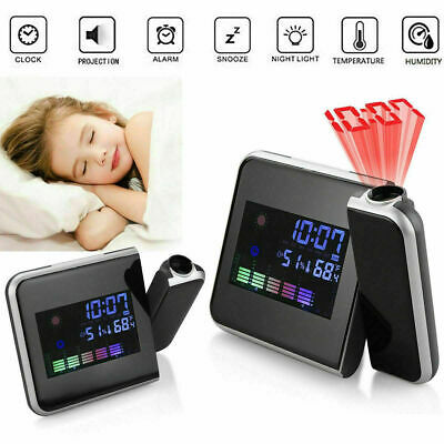 LCD Digital LED Projector Projection Weather Station Calendar Snooze Alarm Clock • 8.19£
