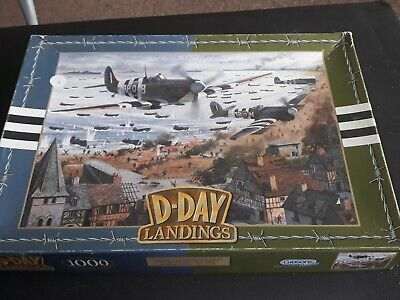 Jigsaw Puzzle The D Day Landings RAF War Planes Gibsons 1000 Piece • 9.50£