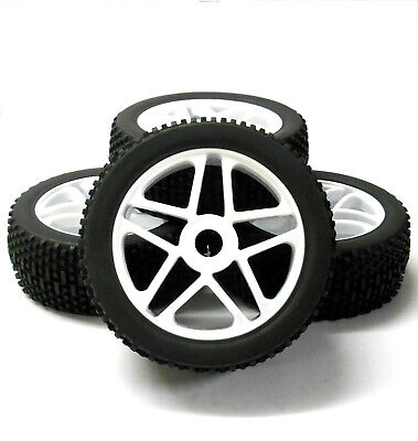 180086 1/8 Scale Off Road Nitro Buggy RC Star Wheels And Tyres White X 4 • 20.99£
